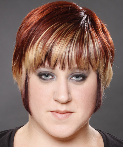 Short Straight Alternative    Hairstyle with Layered Bangs  - Dark Mahogany Red and  Blonde Two-Tone Hair Color