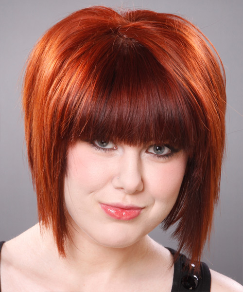 Medium Straight Layered   Ginger Red Bob  Haircut with Blunt Cut Bangs