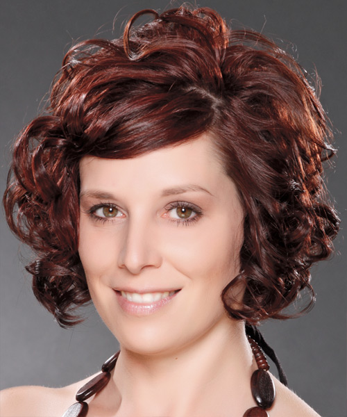 Medium Curly Formal    Hairstyle with Side Swept Bangs  - Dark Burgundy Red Hair Color