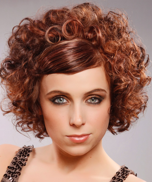 Short Curly Mahogany Red Hairstyle With Side Swept Bangs