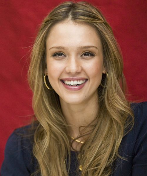 Jessica Alba Half Up Long Curly Casual  Half Up Hairstyle