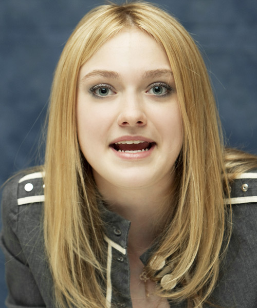 Dakota Fanning Long Straight Casual    Hairstyle   -  Blonde Hair Color