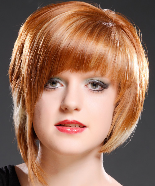 Short Straight Alternative    Hairstyle with Razor Cut Bangs  - Ginger Hair Color