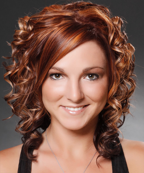 Medium Curly Formal    Hairstyle with Side Swept Bangs  -  Mahogany Brunette Hair Color