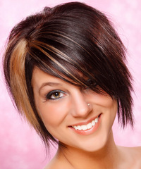 Short Straight Alternative    Hairstyle   - Dark Burgundy Brunette Hair Color with  Blonde Highlights