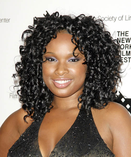 Jennifer Hudson Medium Curly   Black    Hairstyle