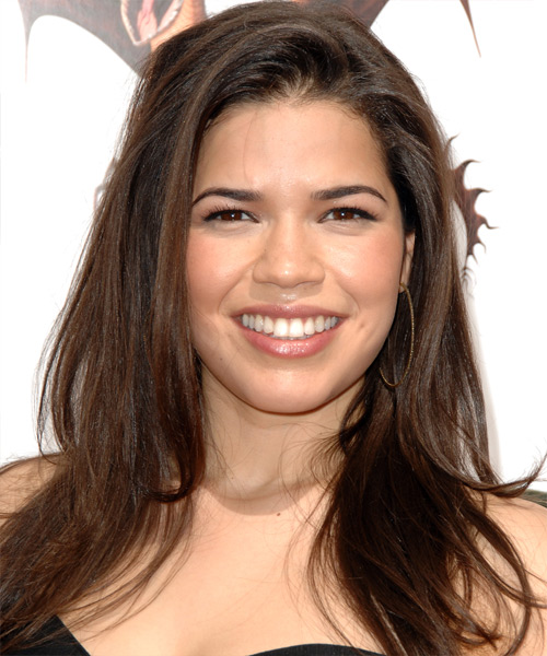 America Ferrera Long Straight Casual   Hairstyle