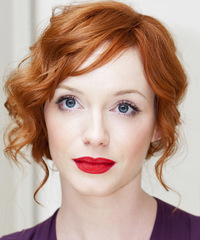 Christina Hendricks  Long Curly Formal   Updo Hairstyle   - Light Ginger Red Hair Color