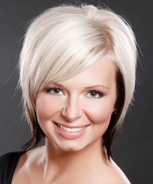 Short Straight Casual    Hairstyle with Side Swept Bangs  - Platinum and Dark Brunette Two-Tone Hair Color