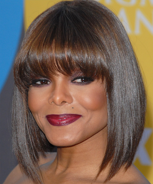 Janet Jackson Medium Straight Formal   Hairstyle