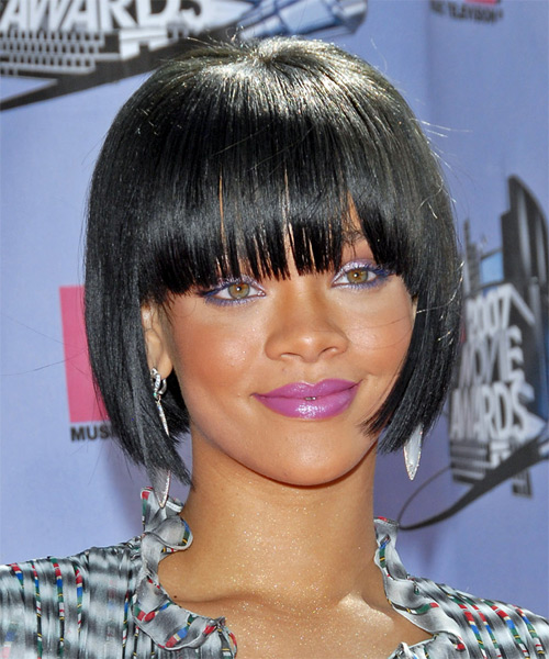 Rihanna Medium Straight Pageboy Bob Hairstyle with Blunt Cut Bangs