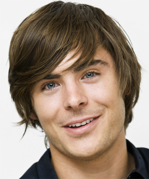 Zac Efron Medium Straight Casual    Hairstyle with Side Swept Bangs  - Ash Hair Color