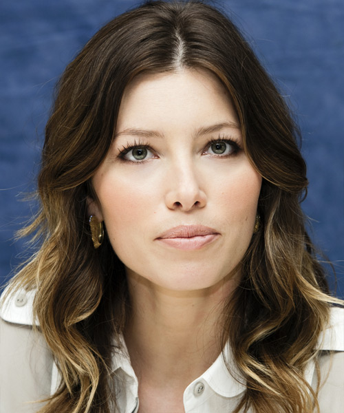 Jessica Biel Long Wavy Casual   Hairstyle   - Dark Brunette