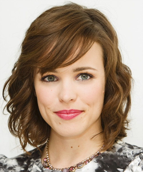 Rachel McAdams Medium Wavy Formal   Hairstyle with Side Swept Bangs