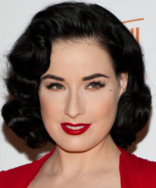 Dita Von Teese Medium Wavy Formal   Hairstyle   - Black
