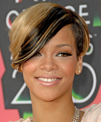 Rihanna Short Straight Alternative    Hairstyle with Side Swept Bangs  -  Blonde and Black Two-Tone Hair Color