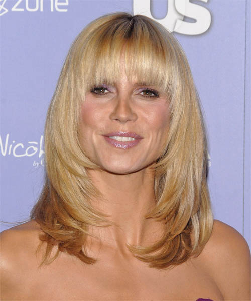 Heidi Klum Long Straight Formal    Hairstyle with Blunt Cut Bangs