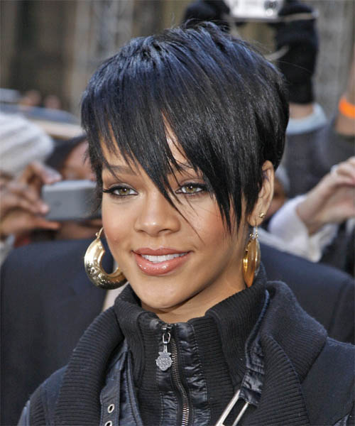 Rihanna Short Straight Black Pixie Haircut with Side Swept Bangs