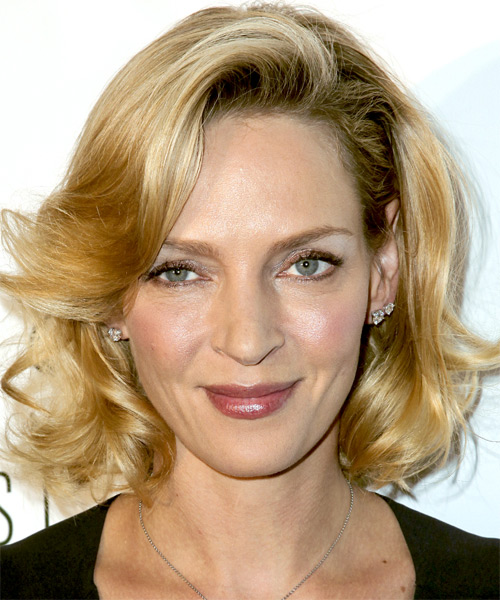 Uma Thurman Medium Wavy Formal   Hairstyle