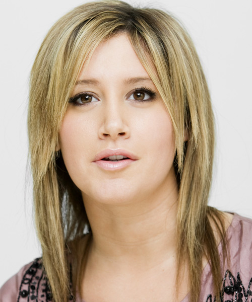 Ashley Tisdale Long Straight Casual   Hairstyle with Side Swept Bangs  - Medium Blonde (Ash)