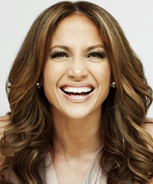 Jennifer Lopez Long Wavy    Brunette   Hairstyle   with Dark Blonde Highlights