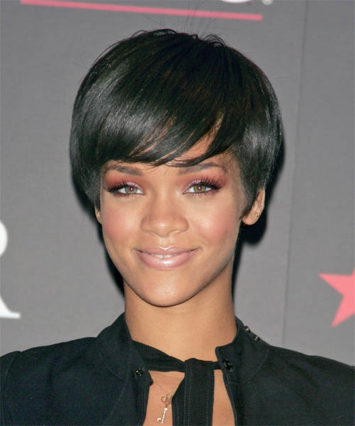 Rihanna Short Straight Casual   Hairstyle   - Black