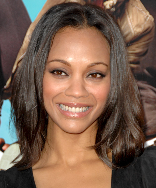 Zoe Saldana Medium Straight Casual   Hairstyle