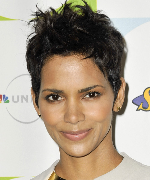 Halle Berry Short Straight Casual Pixie  Hairstyle   - Black