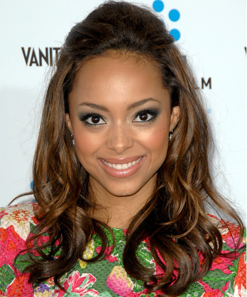 Amber Stevens Half Up Long Curly Casual  Half Up Hairstyle