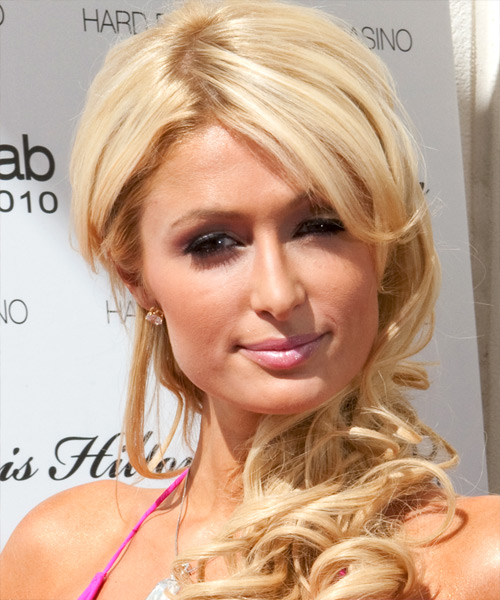 Paris Hilton Long Wavy Formal    Hairstyle   - Light Bright Blonde Hair Color