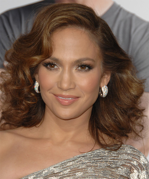 Jennifer Lopez Medium Wavy Formal    Hairstyle   -  Chestnut Brunette Hair Color