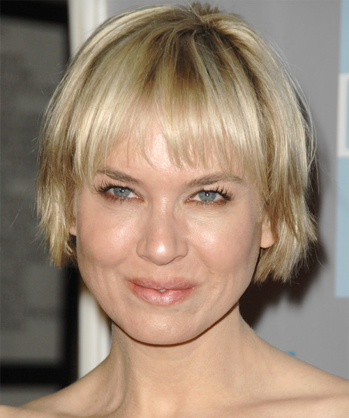 Renee Zellweger Short Straight Casual  Bob  Hairstyle   - Light Blonde Hair Color