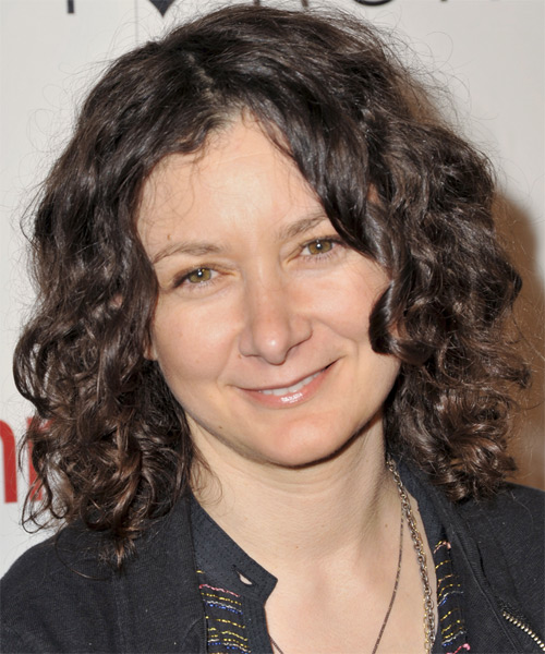 Sara Gilbert Medium Curly Casual    Hairstyle   -  Chocolate Brunette Hair Color