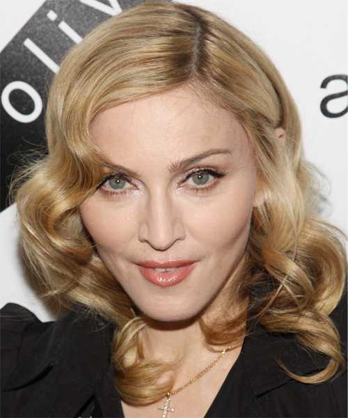 Madonna Medium Wavy Blonde Hairstyle
