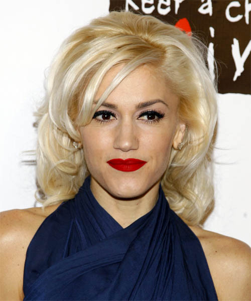 Gwen Stefani Medium Wavy Formal   Hairstyle