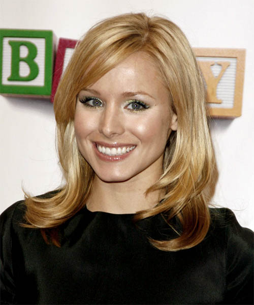Kristen Bell Long Straight    Golden Blonde   Hairstyle with Side Swept Bangs