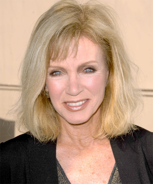 Donna Mills Medium Straight Casual   Hairstyle