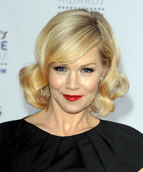 Jennie Garth Medium Wavy Formal   Hairstyle with Side Swept Bangs