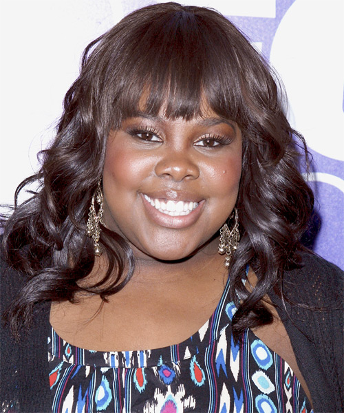 Amber Riley Long Wavy Formal   Hairstyle   (Chocolate)