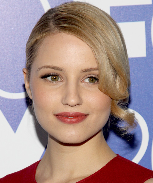 Dianna Agron Updo Long Curly Formal  Updo Hairstyle