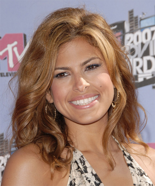 Eva Mendes Long Wavy Casual    Hairstyle   - Light Golden Brunette Hair Color