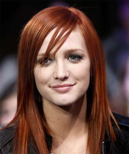 Ashlee Simpson Long Straight Red hairstyle - Pale Cool Skin Tone