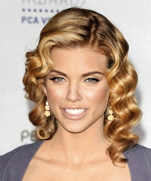 AnnaLynne McCord Medium Wavy Formal    Hairstyle   - Dark Golden Blonde Hair Color