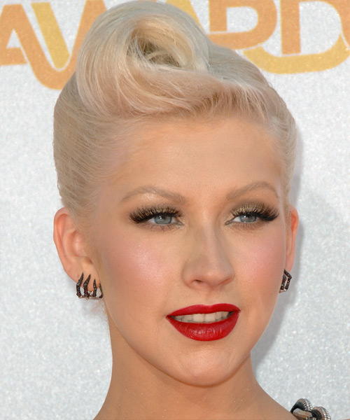 Christina Aguilera Updo Medium Curly Formal  Updo Hairstyle
