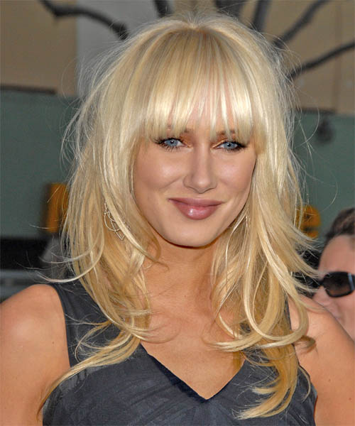 Kimberly Stewart Long Straight Casual   Hairstyle with Blunt Cut Bangs  - Light Blonde (Champagne)