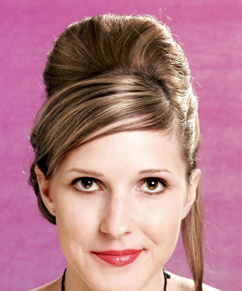 Updo Long Straight Formal  Updo Hairstyle with Side Swept Bangs  - Light Blonde (Caramel)