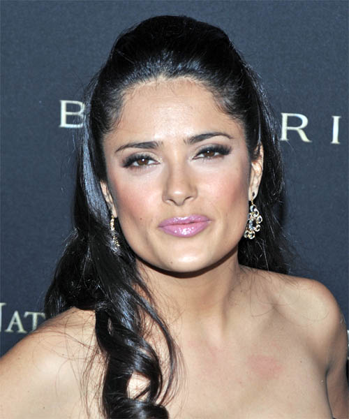 Salma Hayek  Long Curly    Half Up Hairstyle