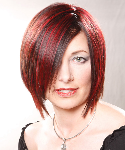 Medium Straight    Bright Red   Hairstyle