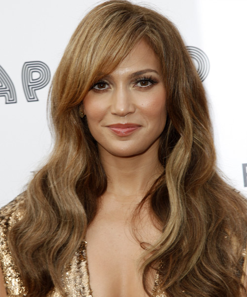Jennifer Lopez Long Wavy Casual    Hairstyle with Side Swept Bangs  -  Caramel Brunette Hair Color