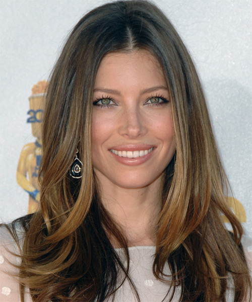 Jessica Biel Long Straight Formal   Hairstyle